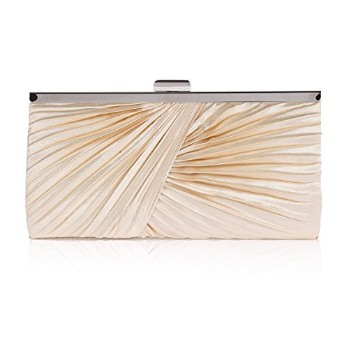 Pintuck Bag Party Clasp Clutch Damara Champagne Asymmetric Womens Metal EUHw4Cq