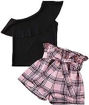 DuAnyozu 2Pcs Fashion Toddler Kids Little Girls Clothes Summer One Shoulder Ruffle Tops T Shirt+Plaid Shorts O