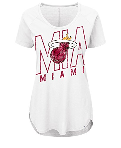 VF LSG NBA Miami Heat Women's Fanatic Force Short Sleeve Scoop Neck Tee, X-Large, White -