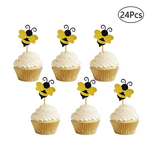 Bumble Bee Cupcake Toppers Glitter Gender Reveal Cupcake Toppers Gender Reveal Baby Shower Birthday Party -