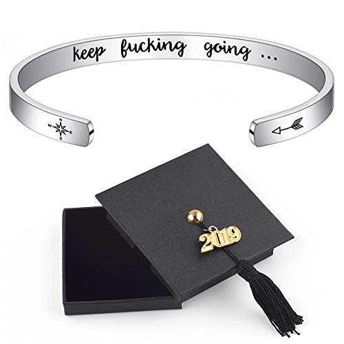 2019 Inspirational Graduation Gifts Bracelet - Class of 2019 Bracelet Keep Fucking Going Inspirational Personalized Engraved Mantra Saying Arrow Compass Open Cuff Bangle with 2019 Graduation Cap