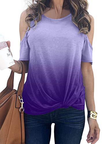 BLENCOT Women's Ladies Casual Short Sleeve Shirts Tie Dye Cold Shoulder Blouses Cute Twist Knot Soft Tee Tops Purple M ()