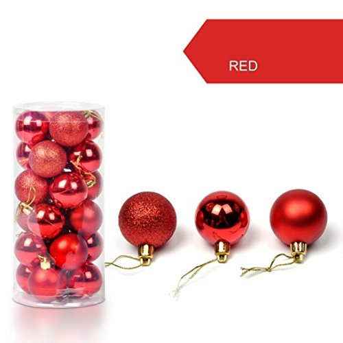 Fruit Christmas Ornament - feierna Christmas Ball Ornaments Shatterproof Christmas Decorations Tree Balls for Holiday Wedding Party Decoration Pack of 24pcs by (Red, 1.57