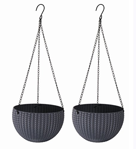 2PCS-PACK Bowl Shaped Hanging Planters Basket for Growing Herbs, Classic Pastorale Rattan-like Design Home Decorative Containers with Hangers,Round Flower Pots Wall Mounted Plants Holder (Bowl Shaped Basket)
