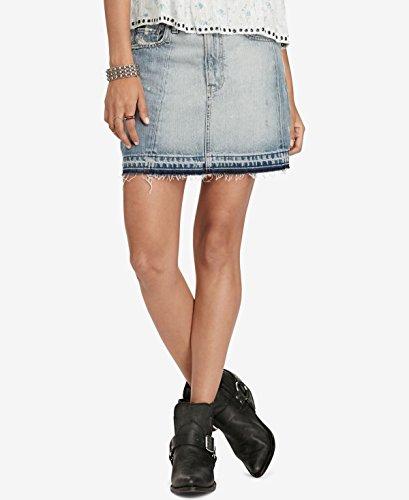 Denim & Supply Ralph Lauren Womens Distressed Frayed Hem Denim Skirt Blue 30 -