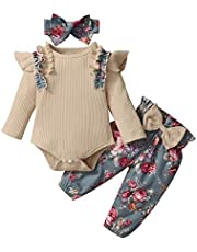 الرضع طفل الفتيات طويلة الأكمام الكشكشة رومبير ارتداءها + الأزهار طباعة السراويل (Color : Khaki, Size : 24M)