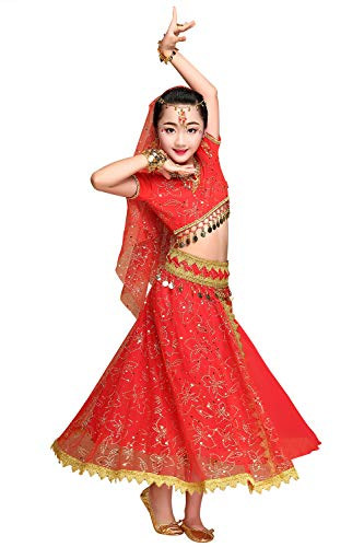 ORIDOOR Belly Dance Costume for Girls Kids Halloween Indian Dance 5-Piece Outfit Large - Bollywood Kids Costume