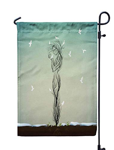 Shorping Welcome Garden Flag, 12x18Inch Tree Silhouette Like Woman Two White Bird Many Pigeon Fly to The Spring Come Concept Alive Idea for Holiday and Seasonal Double-Sided Printing Yards Flags ()