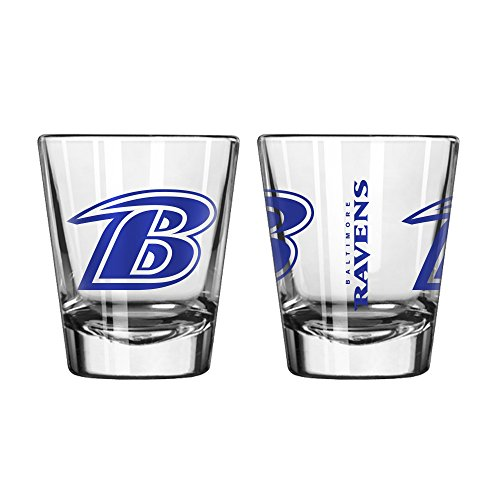 Official Fan Shop Authentic NFL Logo 2 oz Shot Glasses 2-Pack Bundle. Show Team Pride at home, your Bar or at the Tailgate. Gameday Shot Glasses for a goodnight (Baltimore Ravens) Show Shot Glass