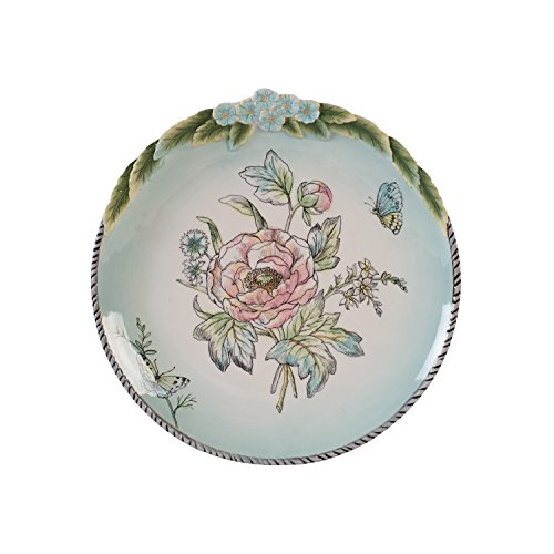 Fitz and Floyd 21-055 English Garden Stoneware Accent Plate Bloom, Baby Blue