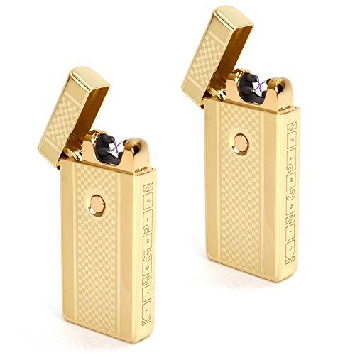 "Kingpin Lightsâ""¢ Gold Electric Arc Lighter 2-Pack- Windproof Dual Arc Plasma Lighter - USB Rechargeable Dual Pulse Electronic Lighter - Flameless Plasma Beam Lighter Gift Set"
