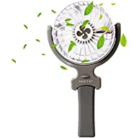 Mini Handheld Fan, Mihoon Portable Foldable 360 Degree Adjustable Cooling Table Fan with USB Rechargeable Battery for Home&Office&Travel&Camping Use (White)