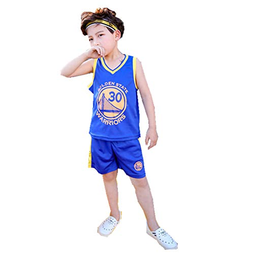 FTSUCQ Boys Basketball Jersey Sports Suits Polo Shirt + Shorts,Blue 150