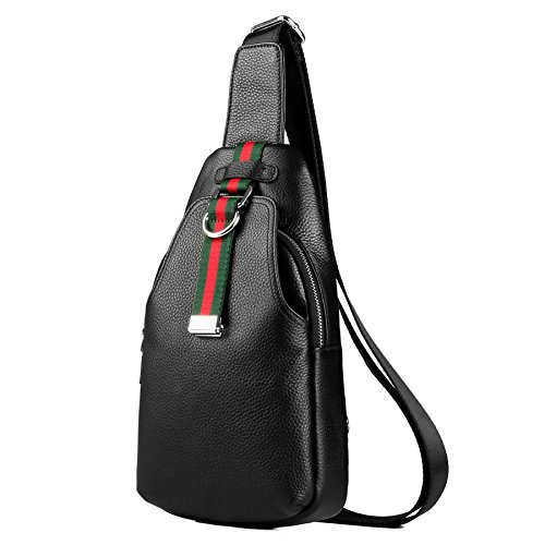 LXFF Men's Leather Sling Bag Chest Bag Pack Backpack Shoulder, Black-3, Size 6.7