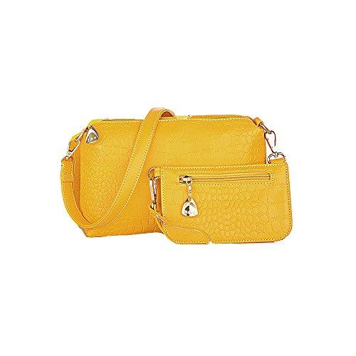 tracolla donna pelle Huamore in Portafoglio donna Tote pelle in Portafoglio con gialla I7xE1dnqwn