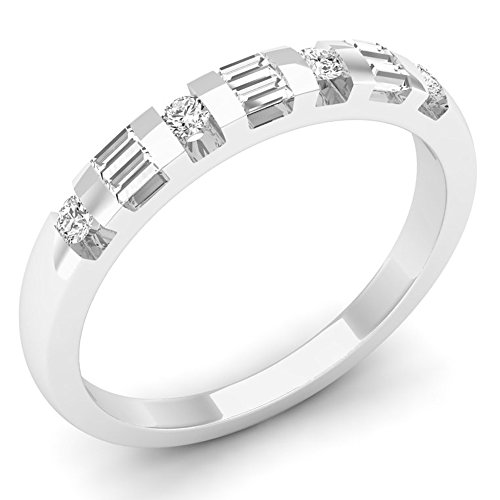 (Dazzlingrock Collection 0.25 Carat (ctw) 10K Round & Baguette Cut Diamond Ladies Wedding Band 1/4 CT, White Gold, Size 6.5)