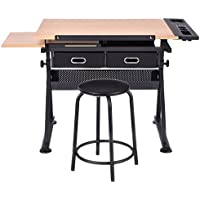 SKB Family Adjustable Art Craft Drawing Desk with Stool drawing desk home large table workstation Powder-coated steel