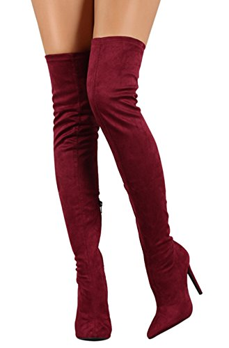 Side Toe Zipper Ve Boots Stiletto Stretch Boots High CAMSSOO Red Women's Wine Pointy High Thigh Knee Heel wHg8nUqX