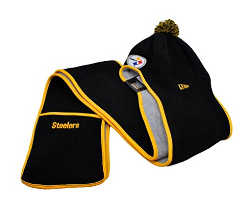 NEW ERA Fan Centric Hat Beanie Winter Knit Hooded Scarf Pockets Pittsburgh Steelers