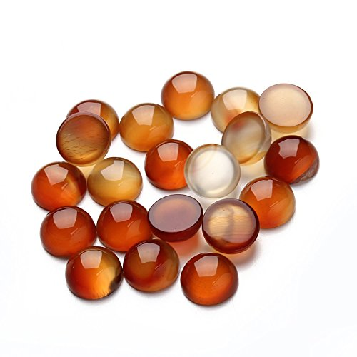 Linsoir Beads Round Red Transparent Agate Glass Cabochons Flatback Gemstone Beads 12mm Pack of 20