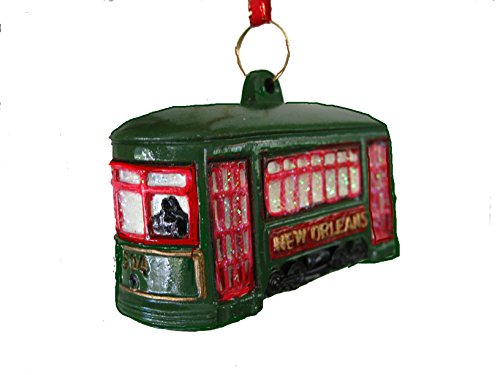 St. Charles Ave. Street Car Trolley Car Holiday Ornament with Free Drawstring - New Orleans St Canal