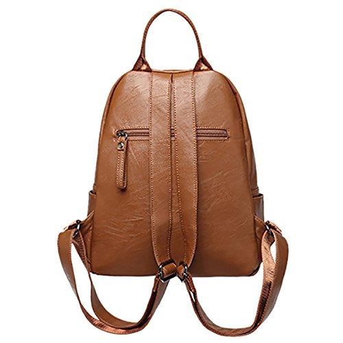 THEE Damen Vintage PU Leder Rucksack Schultasche Daypacks Für Outdoor Sports Schulranzen Braun braun