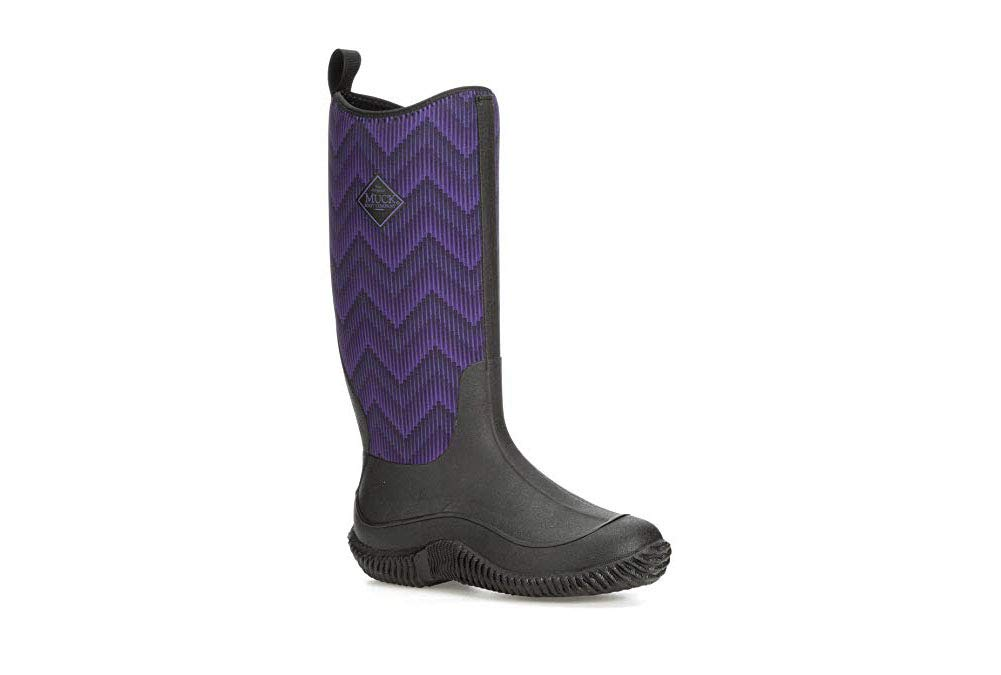 Muck Boot Women's Hale Rain Boot Black/Purple Chevron 11 Regular US