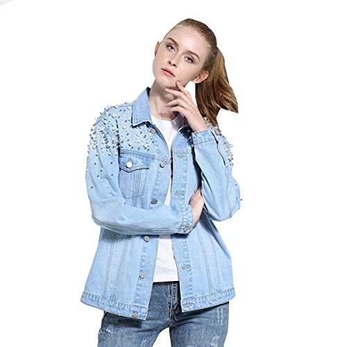 Battercake Autunno Elegante Giubotto Breasted Donne Perline Casuale Donna Bavero Accogliente Lunghe Giacca Di Moda Blau Single Jeans Giacche Outerwear Maniche Tasche Anteriori Unico 1PYrw5qY