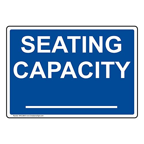 Seating Capacity_ Sign, 10x7 in. Plastic for Dining/Hospitality/Retail by ComplianceSigns
