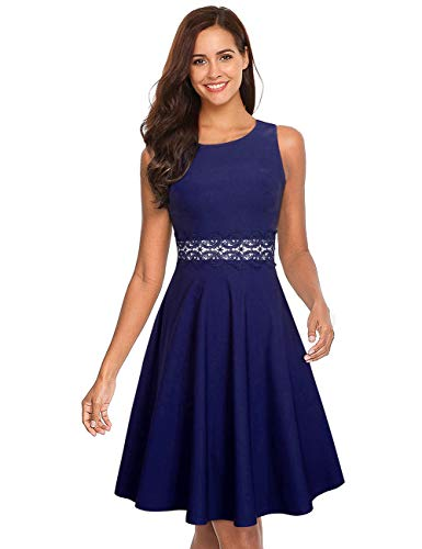 GloryStar Women's Retro Cocktail Fit Flare Empire Waist Embroidery Wedding Guest Dress for Party Sleeveless Dark Blue XL