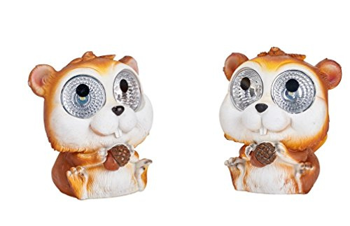 Garden Pals Solar Chipmunk Light Statue (Set of 2) (Stepping Light Solar Stone)