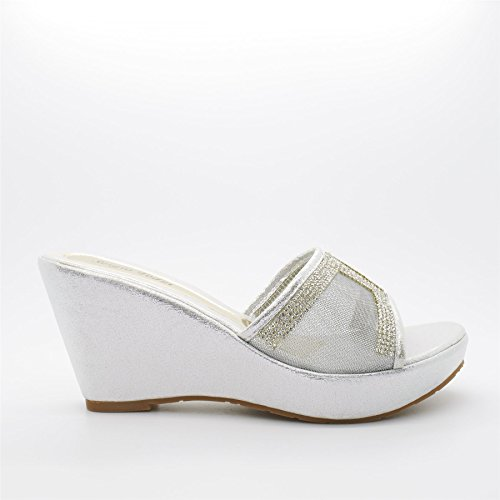London Footwear Fleurette, Women's Wedge Heel Platform Sandals Silver
