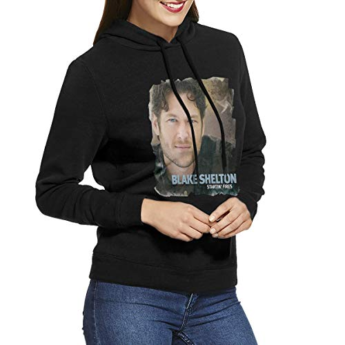 Kangtians URAHARA Blake Shelton Startin' Fires Women's Hooded Sweatshirt Black XL -