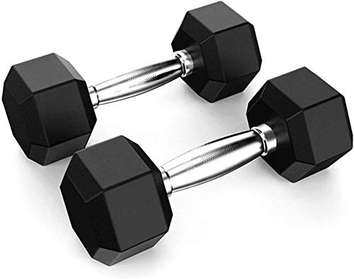 40lbs Dumbbell Set 2, Barbell Hex Rubber Dumbbell with Metal Handles, Heavy Dumbbells Home Gym Fitness Arm Strength…