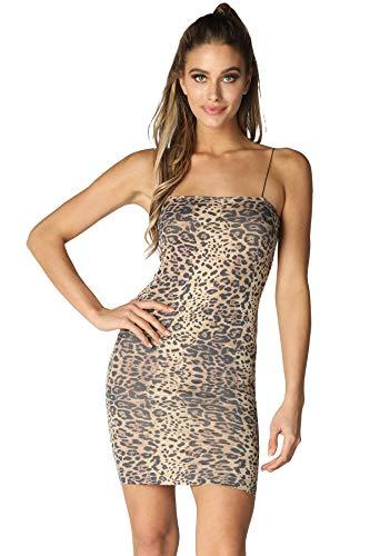 Animal Print Mini Dress - NIKIBIKI Women Seamless Animal Print Bodycon Dress, One Size (Mini Length, Stone Leopard)