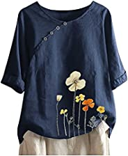 Womens T-Shirt Short Sleeve Loose Fit Floral Print O Neck Casual Plus Size Vintage Blouse Tees Shirt Tops