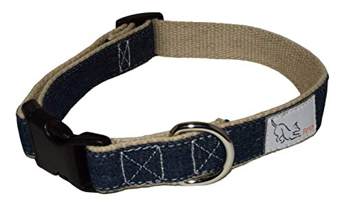 - Fetch Denim Dog Collar, Durable Hemp Lining, Natural Fibers, Matching Leash Available