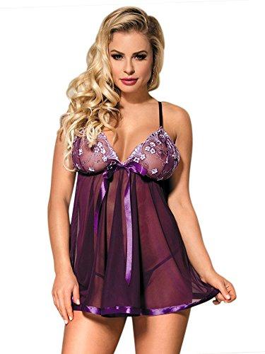 DotVol Women Plus Size Lingerie Vintage Lace Sparkly Sequin Transparent Babydoll Sleepwear(US XL/Tag 2XL, Purple)