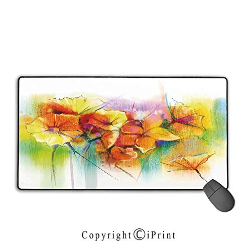 (Mouse pad with Lock,Watercolor Flower Home Decor,Vibrant Autumn Bouquet withTypes of Blooms Daffodil Fragrant Image,Multi, Non-Slip Rubber Base,15.8