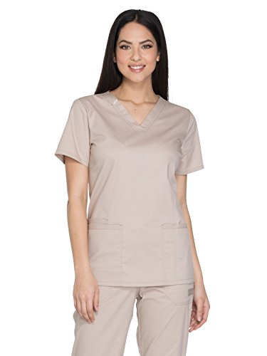 Cherokee Khakis Workwear Scrubs (Core Stretch By Cherokee Workwear Women's V-Neck Solid Scrub Top Small Khaki)