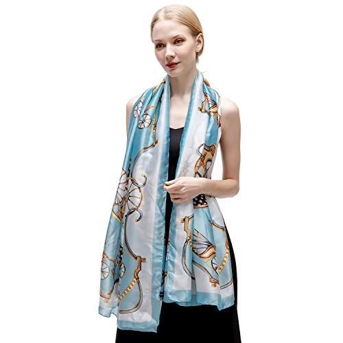 100% Silk Scarf for Women Long Large Lightweight Satin Scarves Blue Sunscreen Printed Shawl Wrap Headscarf ()