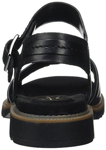Clarks Ferni Fame, Sandalias con Cuña para Mujer Negro (Black Leather)