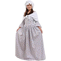 GRACEART Pioneer Colonial Women Costume Prairie Dress Grey size-14