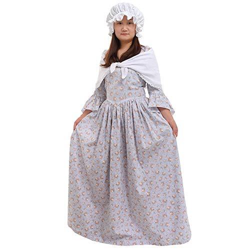 GRACEART Pioneer Colonial Women Costume Prairie Dress Grey
