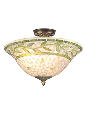 Dale Tiffany TH70655 Mosaic Semi-Flush Mount Light, Antique Brass and Mosaic Shade