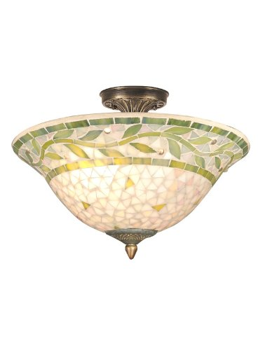 Dale Tiffany Flush - Dale Tiffany TH70655 Mosaic Semi-Flush Mount Light, Antique Brass and Mosaic Shade