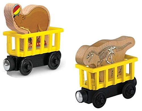 Thomas Zoo (Fossil Dinosaur Car & Zoo Bear Car- Thomas Wooden Railway Train Tank Engine - Brand New Loose)