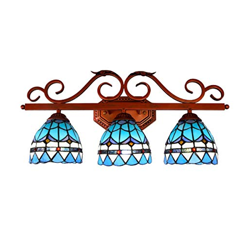 Tiffany Style Bathroom Mirror Front Light Mediterranean Blue Stained Glass Make-up 3-Lights -
