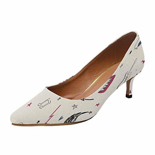 Interestprint Womens Faible Chaton Talon A Souligné Toe Robe Pompe Chaussures Musique Symboles Multi 1
