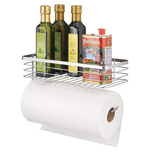 mDesign Paper Towel Holder with Spice Rack and Multi-Purpose Shelf - Wall Mount Storage Organizer for Kitchen, Pantry, Laundry, Garage - Durable Metal Wire Design - Chrome